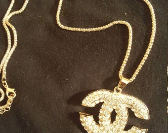 Chanel inspired rhinestone gold cc chanel jewelry pendant necklace.