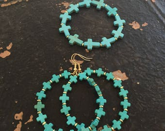 Turquoise cross beaded earrings