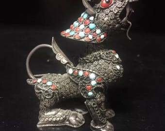 Silver Antique Vintage Chinese Foo Dog Foo Lion Snuff Bottle w Coral & Turquoise embellishments