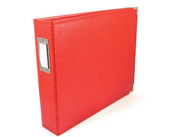 We R Memory Keepers® Red Leather Three-Ring Album - Acid-Free - 13 x 15 x 3 in - ALBUMS