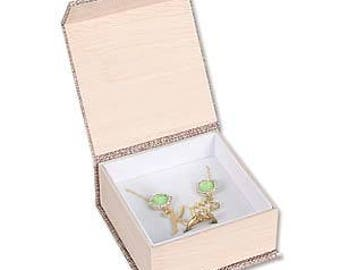 "Burlap paper jewelry box, 3 1/2"" x 3 5/8"" x 1 5/8"", sold by the dozen"