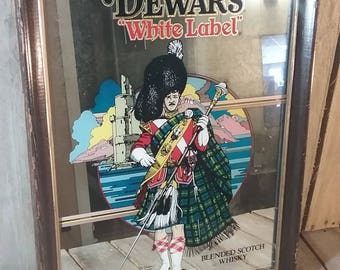 Dewars Liquor Mirror Sign, Dewars White Label Blended Scotch Whiskey, Alcohol Advertising, Mirror Wall Sign, Liquor Picture, Bar Sign, Sign