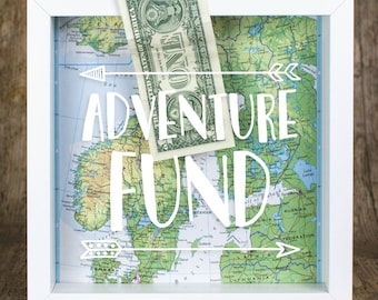 Travel Gift // Adventure Fund Frame // Our Adventure Awaits // Money Frame Box // Travel Gift // Map Gift // Piggy Bank // Holiday Fund //