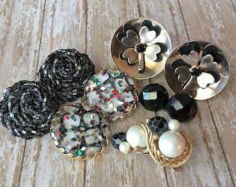 Black Earring Lot Destash Clip on 6 Pairs Shamrock Cluster Pearl Lucite Resin Bead Repurpose Repair