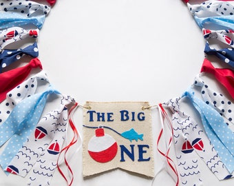 The Big One Birthday Highchair Banner - Fishing First Birthday - High Chair Garland - Big One Theme - Boy 1st Birthday Party - Photo Prop