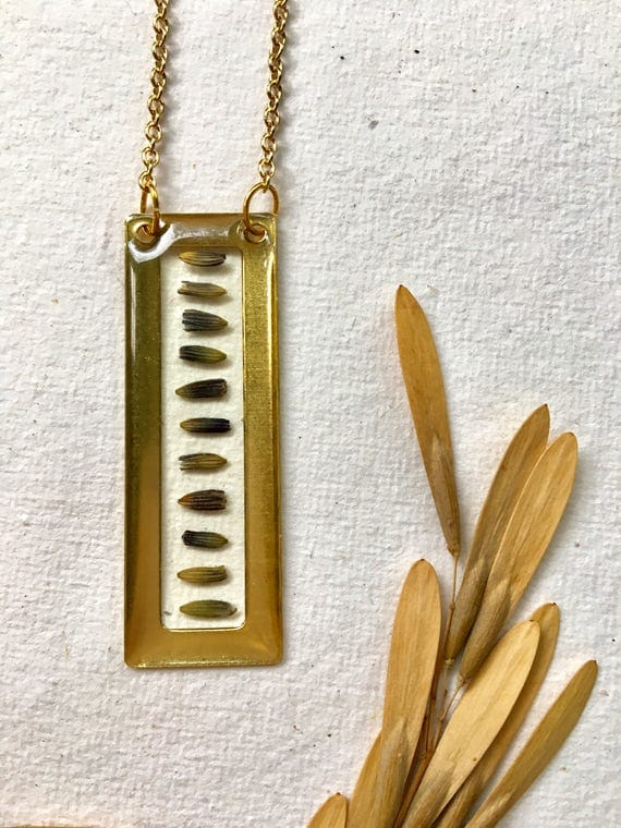 Lavender bud brass rectangle necklace