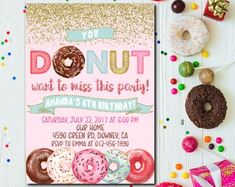 Donut Birthday Invitation, Donut Party Birthday Invitation, Donut Party Invitation,  Pink and Gold Glitter, Donuts Invitation ANY AGE - 1662