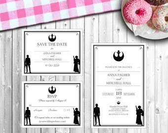 "Personalized Wedding Invitation Set - ""Rebels in Love"" - Style #216"