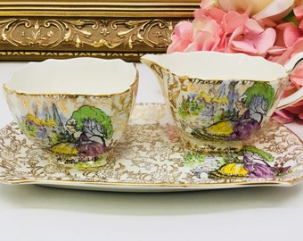"""Lord Nelson Ware """"Pompadous"""" cream and sugar with matching tray"""