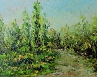 Path to Trees - Oil Painting-Landscape-Original Art