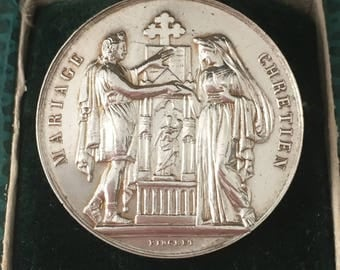 Marriage Medal 19th century Religious Antique By PINGRET French Silver Hallmark Cornicopia 1880-1907