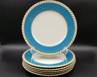 Vintage K & A Krautheim Selb Bavaria Luncheon Plates ~ Blue and Gold ~ Set of Six ~ Germany
