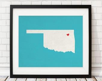 Custom Oklahoma State Art, Customized State Map Art, Personalized Gift, Oklahoma Art, OK Heart Map, Oklahoma Map, Oklahoma Print