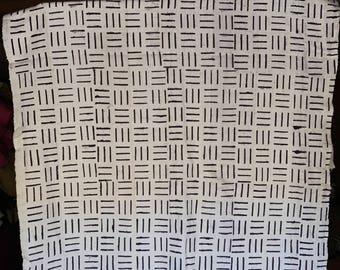 White and purple print Mudcloth