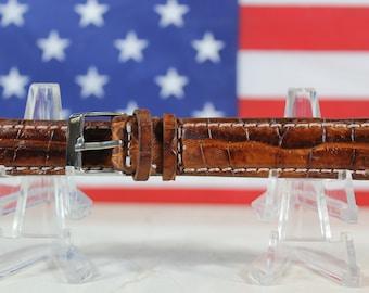 Genuine Brown Alligator Leather Skin Watch Strap 18mm (Made in U.S.A) #136