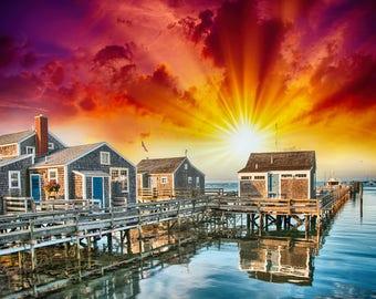 Colorful Nantucket canvas, NantucketCanvas, Wall canvas, 3 panels canvas or choose a single print, Art Print,NYC large canvas