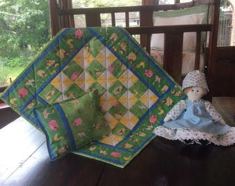 Handmade Farm Yard Patchwork Doll Quilt and Pillow.Small Quilt.Animal Quilt.Pillow.Dolls Bedding.Yellow Quilt.