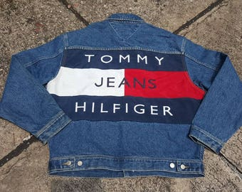 VTG Tommy Hilfiger Jeans Big Flag Colour Block USA Big Logo Sailing Gear DeadstocK Jacket Spell Out Very Rare