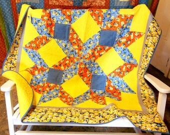 "Minion Quilt-Carpenter Star Toddler/Lap  58"" x 61"" (orange, blue, denim, yellow packed minions)"