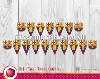 FC Barcelona Birthday Banner - Barcelona Birthday Banner - Barcelona Banner - FC Barcelona Birthday Party - Digital Download