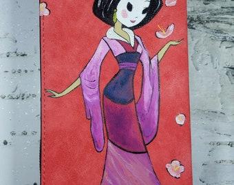 Mulan, mushu and cricket hand painted wallet