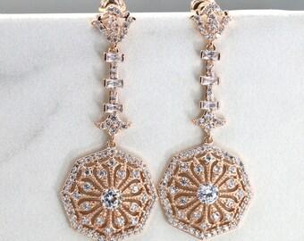 Bridal Earrings, Arc Deco Earrings, Vintage Drop Earrings, Vintage Jewelry, Rose Gold Earrings, Bridesmaid Earrings, Wedding Jewelry E001