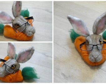 Hare, Glasses rest,Glasses Stand,Glasses case,Sunglasses case,Felt Hare,Hare,Needle Felt Hare, Hare Glasses Stand