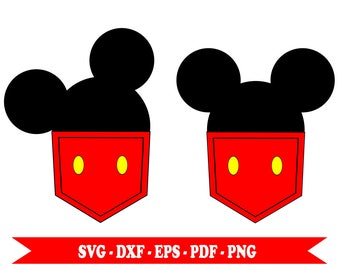 Mickey mouse head svg Pocket clip art, digital format svg, eps, pdf, png, dxf. For Cricut, cut file Space, Cameo Silhouette embroidery