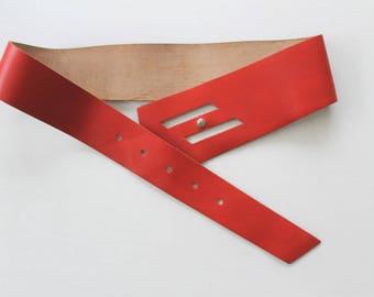 Red Genuine Leather Belt Wide Leather Belts Red Wide Belt Country Western Corset Wide Leather Belt Waist Belt