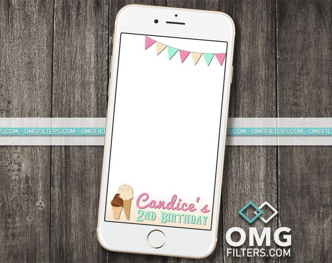 Ice Cream Parlour Party - Custom Snapchat Geofilter - Any Event - Any Age!