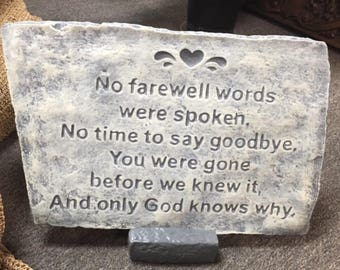 "Concrete Memorial Plaque ""No Farewell"" stone"