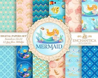 Mermaid Digital Paper, Digital Paper Mermaid, Mermaid Digital Pattern, Mermaid Scrapbook Paper, Mermaid Digital Background, Sea Princess