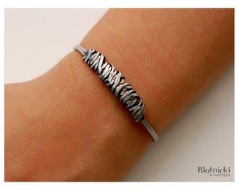 Handforged inox cuff bracelet. No#22