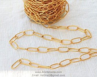 18 k gold large oval chain link chain gold plated connector chain wholesale 10 mm x