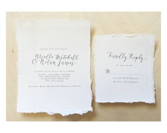 The Arielle /Hand Torn Invitation / Wedding Invitation / Simple Wedding Invitation / Foil Wedding Invitation / Minimalist Wedding Invitation
