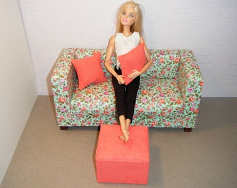 Doll Furniture Sofa, Pouf, and Pillows - Barbie Momoko, Blythe, Pullip, Fashion Dolls - 1:6 Playscale Living Room Diorama - Seafoam Floral