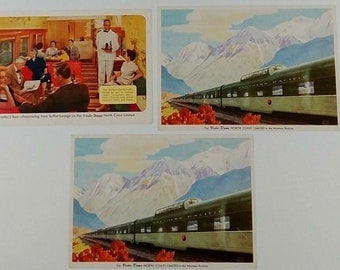 Northern Pacific Railway North Coast Limited Train, Lot of 3 Postcards, Vista Dome, Railroad Dining Car