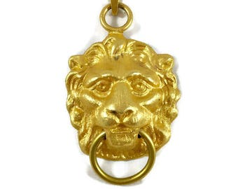 Vintage Gold Lion Door Knocker Pendant, Vintage Lion Pendant, Large Lion Pendant, Vintage Decor, Vintage Pendant, Lion Jewelry,Lion Necklace