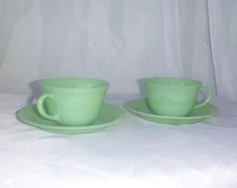 Beautiful cups and SAUCERS JADEITE - two sets - Fire King - Anchor Hocking