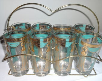 Set of 8 Fred Press Vintage Glasses. Turquoise and Gold