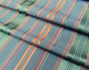 Fabric stripes TCHATCHA - green fabric - fabric upholstery - Nadège fabrics - 1/2 meter