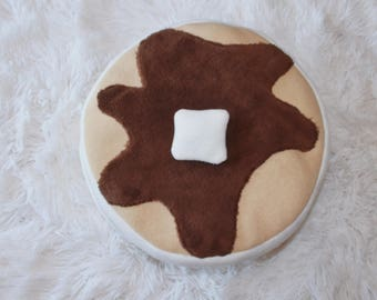 Puffy Pancake Stack Pillow Breakfast, Nursery, Decor, Maple Syrup