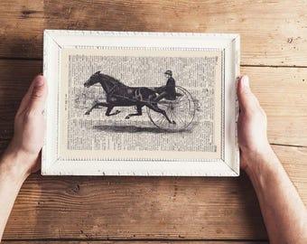 Print vintage Jockey-on antique page-Landscape