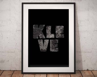 Kleve - A4 / A3 print - MapInBlack