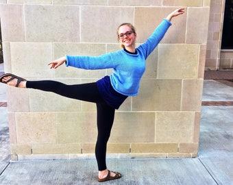 Blue Cotton Sweater : Super Soft, Blue Cotton Blend, Ballet Dancing, Hiking, Knit Apparel, Cornflower Blue, Blue Knit Sweater