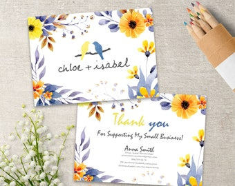Chloe And Isabel Thank You Cards, Chloe + Isabel Thanks Card, 7x5, Personalized, Watercolor Flowers Style