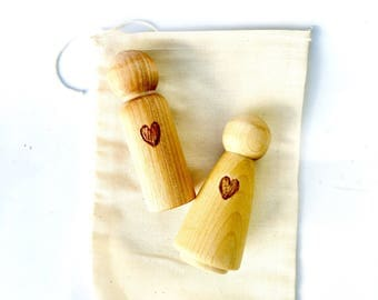 Wooden Peg Dolls, Montessori Toddler Toy, Waldorf Peg Dolls, Natural Wood Toy, Eco-friendly