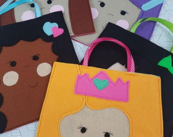Little girl party loot goodie favour felt bags for birthday parties pack of six