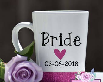 bride, wedding, bridal, wedding gift, glitter coffee mug,  bridesmaid, maid of honor, matron of honor