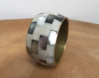 Vintage Brass, Mother of Pearl and Marbles Lucite Mosaic Inlay Bangle Bracelet